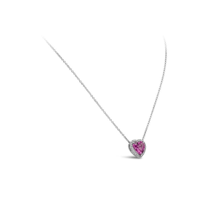 Heart Cut C. Dunaigre Certified Heart Pink Sapphire and Diamond Halo Pendant Necklace For Sale