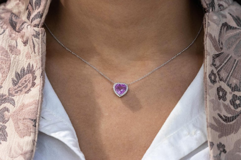 Women's C. Dunaigre Certified Heart Pink Sapphire and Diamond Halo Pendant Necklace For Sale