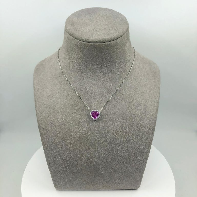 C. Dunaigre Certified Heart Pink Sapphire and Diamond Halo Pendant Necklace For Sale 1