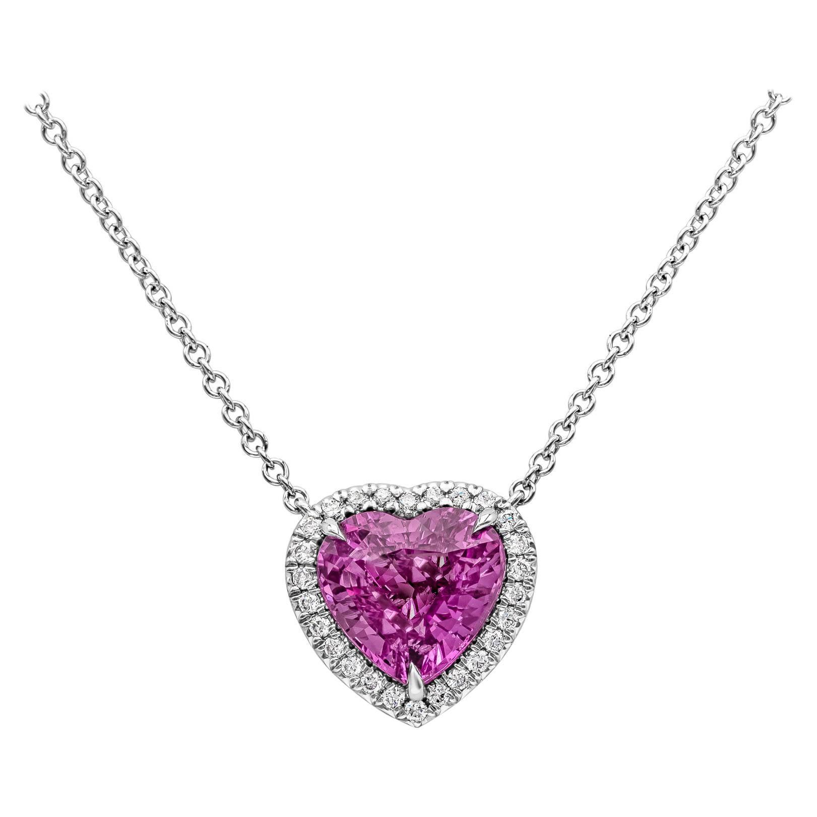 C. Dunaigre Certified Heart Pink Sapphire and Diamond Halo Pendant Necklace