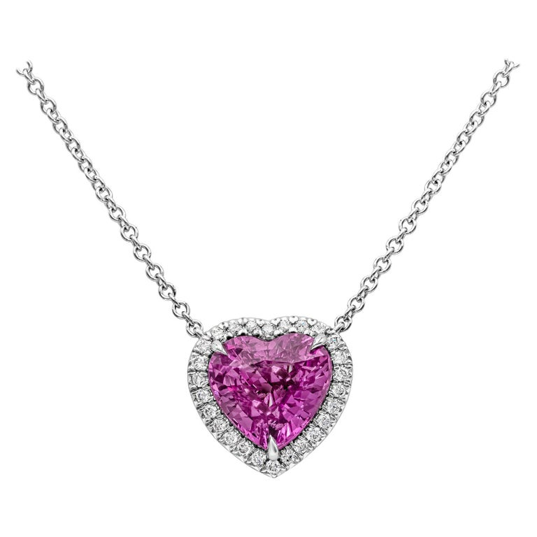 C. Dunaigre Certified Heart Pink Sapphire and Diamond Halo Pendant Necklace For Sale
