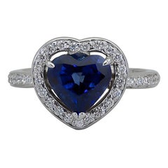 C. Dunaigre Certified Heart Shape Blue Sapphire Diamond Halo Engagement Ring