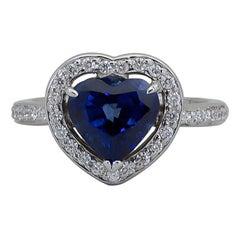 C. Dunaigre Certified Heart Shape Blue Sapphire Diamond Halo Engagement Ring
