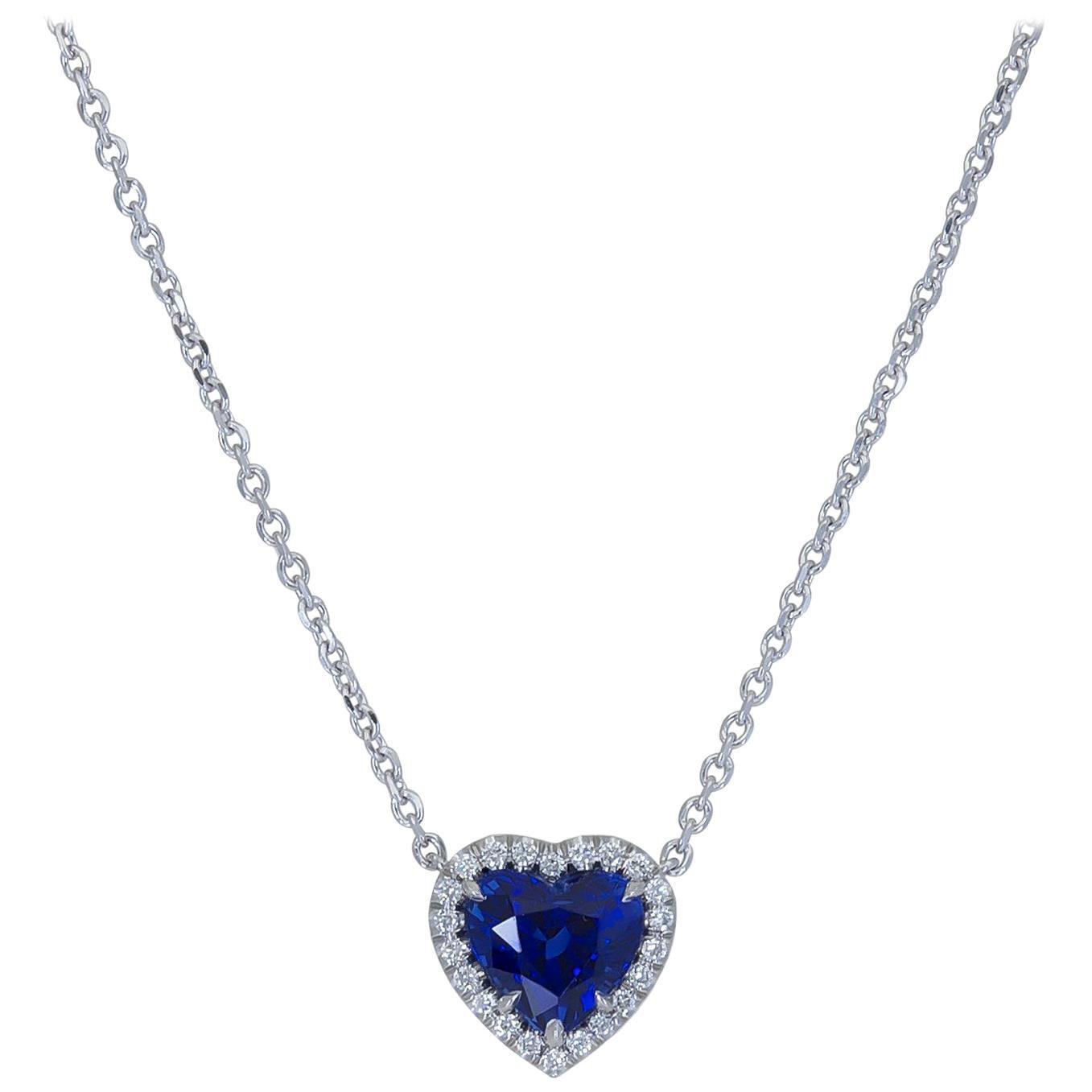 C. Dunaigre Heart Shape Blue Sapphire and Diamond Halo Pendant Necklace