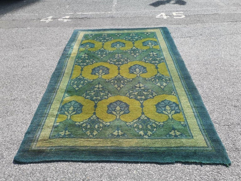 C F A Voysey for Liberty & Co. An original 'Glenmure' Donegal rug. The colour is wonderful, rich and very vibrant without any fading, and a lovely deep pile under foot. This is an extremely rare rug particularly that the colorway is still in almost