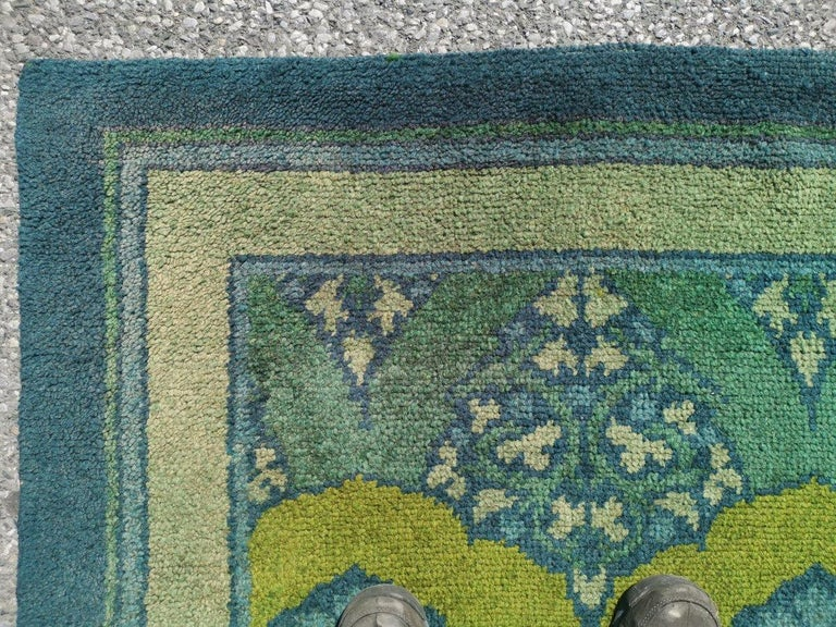 Hand-Woven C F A Voysey for Liberty & Co. a Rare 'Glenmure' Donegal Rug with Rich Colors For Sale
