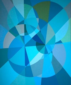 Blue Multiverse Spiral, Abstract Geometric Shapes