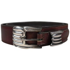 C G Italian Leather Belt with Sterling Silver Buckle