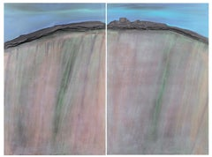 'Abstracted Landscape', National Academy, Palm Springs Museum, Large oil Diptych