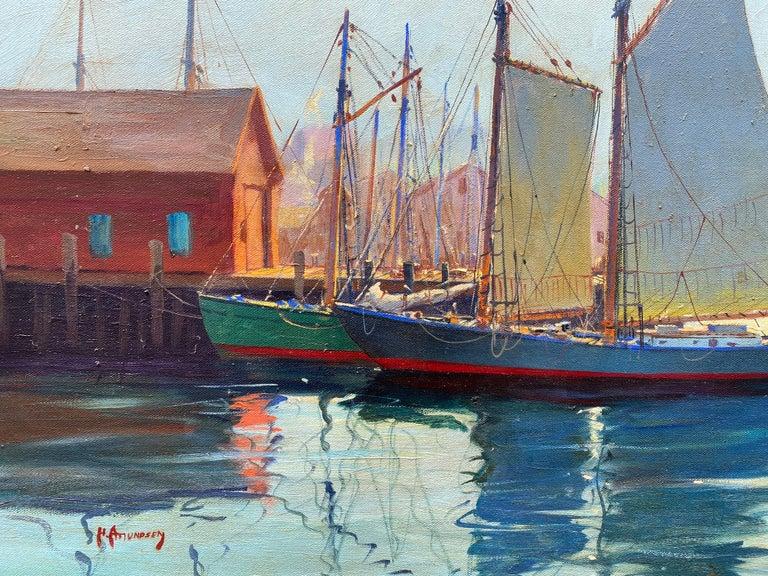 """Gloucester Harbor"" - Academic Painting by C. Hjalmar Amundsen"