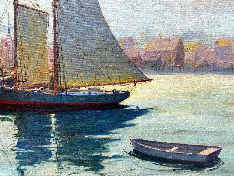"""Gloucester Harbor"" - Blue Landscape Painting by C. Hjalmar Amundsen"