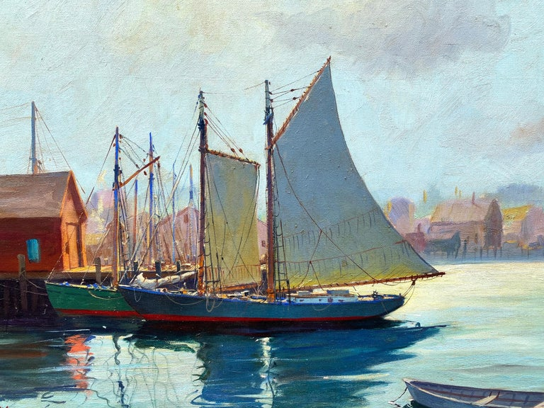 Beautiful original oil on canvas painting of Gloucester Harbor at the end of the day by the well known American marine artist, Hjalmar (Cappy) Amundsen.  Signed H. Amundsen lower left. The painting has been recently professionally cleaned and is in