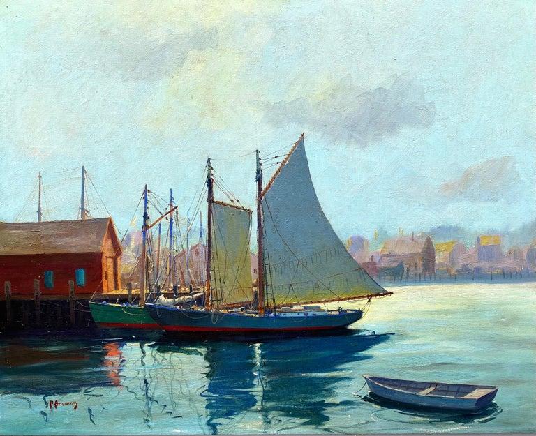 "C. Hjalmar Amundsen Landscape Painting - ""Gloucester Harbor"""