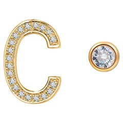 C Initial Bezel Mismatched Earrings