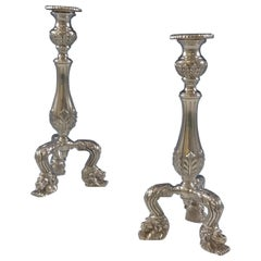 C J Vander Sterling Silver Candlestick Pair with 3-D Lion