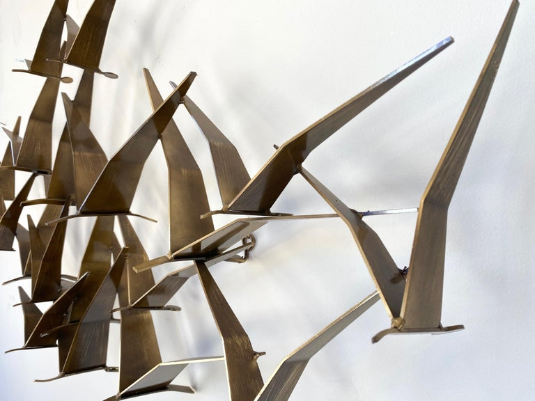 """Curtis Jeré """"Birds in Flight"""" Large Brass Wall Sculpture, Signed, 1994 For Sale 3"""