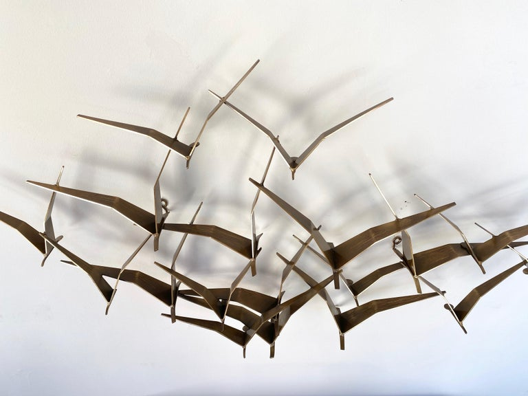 """Curtis Jeré """"Birds in Flight"""" Large Brass Wall Sculpture, Signed, 1994 For Sale 4"""