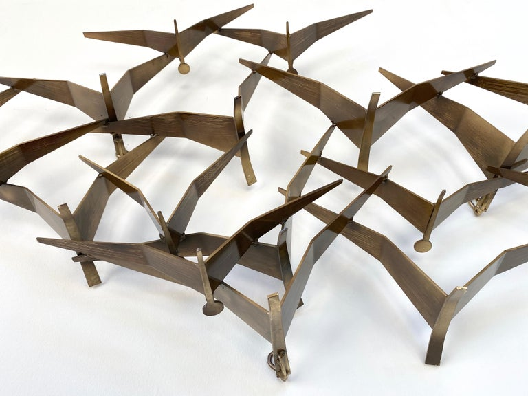 """Curtis Jeré """"Birds in Flight"""" Large Brass Wall Sculpture, Signed, 1994 For Sale 5"""