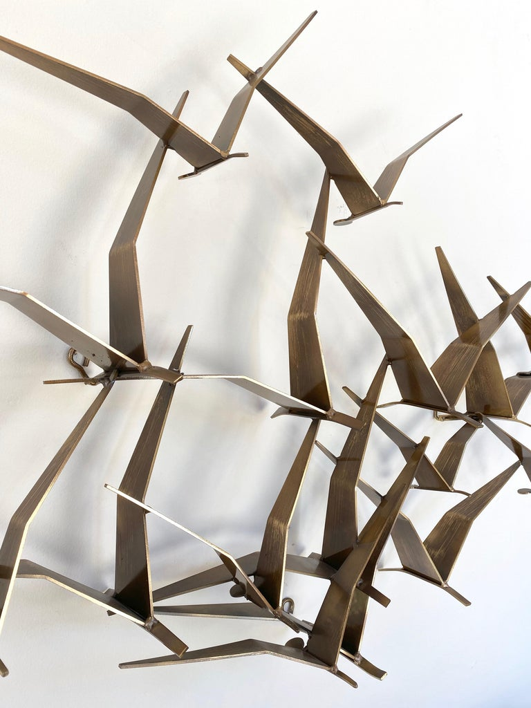 """Curtis Jeré """"Birds in Flight"""" Large Brass Wall Sculpture, Signed, 1994 For Sale 6"""