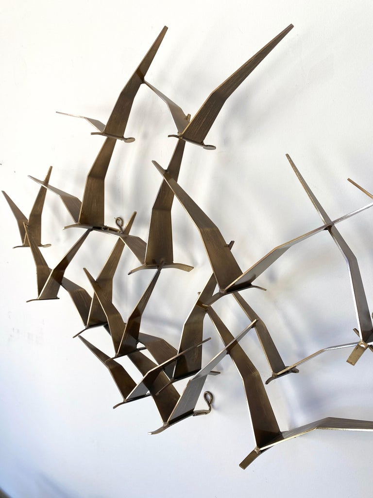 """Curtis Jeré """"Birds in Flight"""" Large Brass Wall Sculpture, Signed, 1994 For Sale 7"""