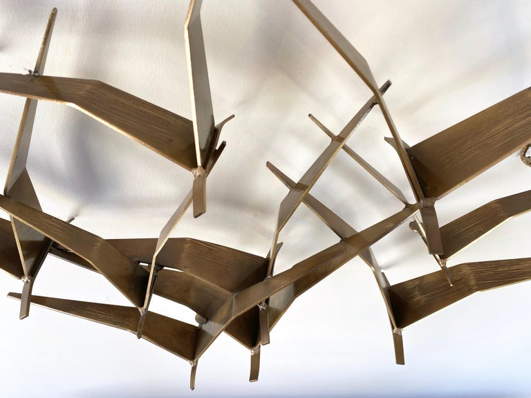 """Curtis Jeré """"Birds in Flight"""" Large Brass Wall Sculpture, Signed, 1994 For Sale 8"""