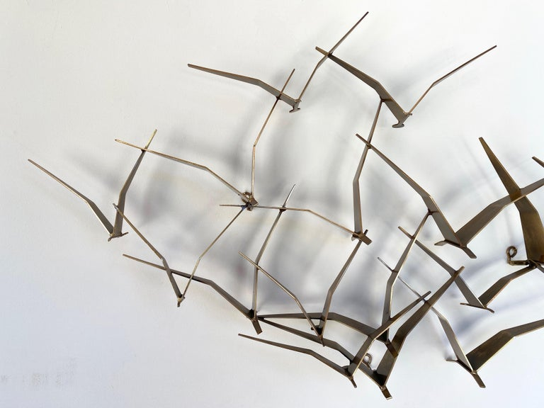 """Mid-Century Modern Curtis Jeré """"Birds in Flight"""" Large Brass Wall Sculpture, Signed, 1994 For Sale"""