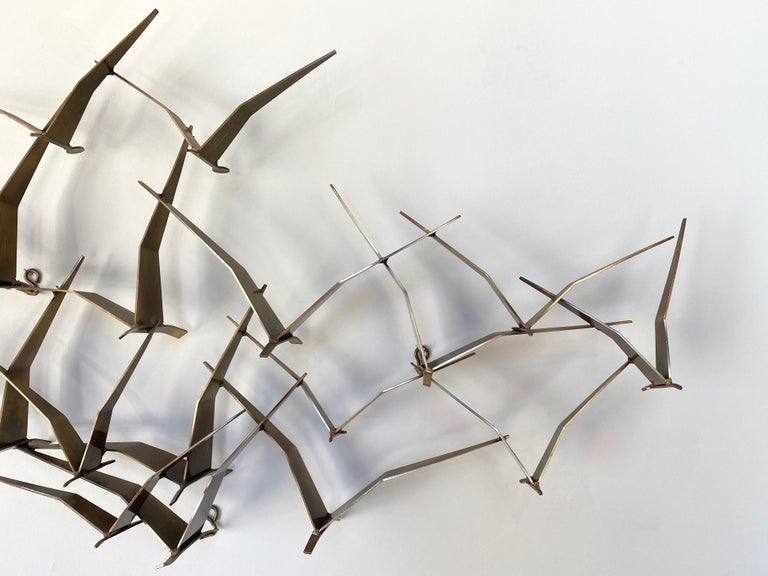 """American Curtis Jeré """"Birds in Flight"""" Large Brass Wall Sculpture, Signed, 1994 For Sale"""