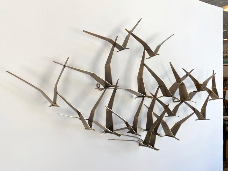 """Hand-Painted Curtis Jeré """"Birds in Flight"""" Large Brass Wall Sculpture, Signed, 1994 For Sale"""