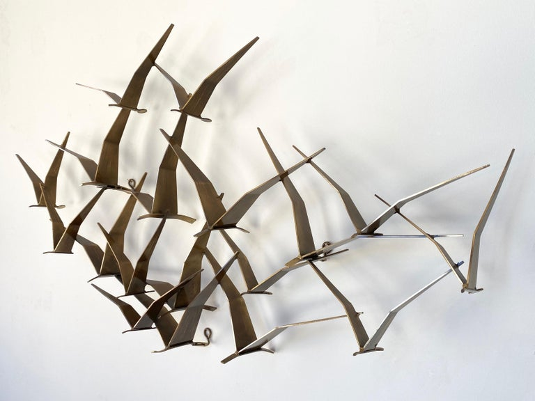 """Curtis Jeré """"Birds in Flight"""" Large Brass Wall Sculpture, Signed, 1994 In Good Condition For Sale In San Francisco, CA"""