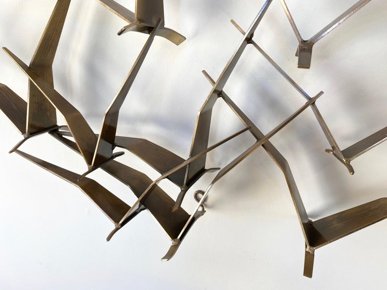 """Curtis Jeré """"Birds in Flight"""" Large Brass Wall Sculpture, Signed, 1994 For Sale 2"""