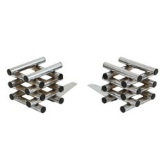 C. Jere Bookends Chrome Tubular Stacked Signed USA, 1970s