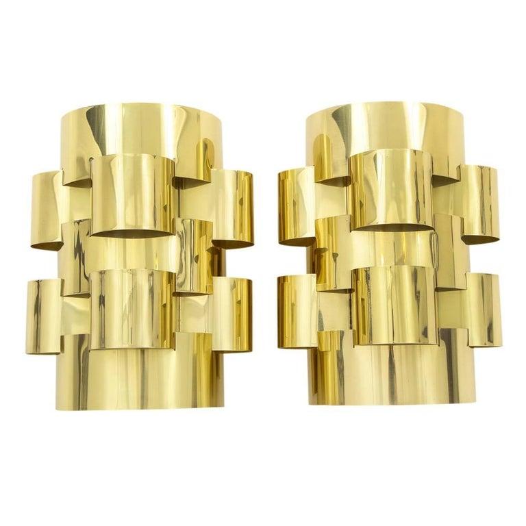 Mid-Century Modern C. Jere Brass Cloud Sconces, Signed For Sale