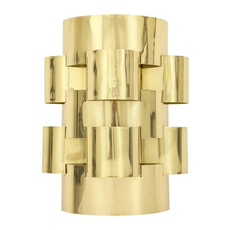 Polished C. Jere Brass Cloud Sconces, Signed For Sale