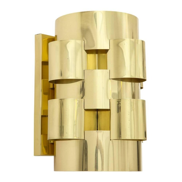 C. Jere Brass Cloud Sconces, Signed In Good Condition For Sale In New York, NY