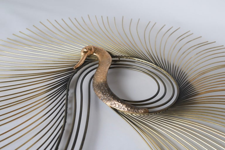 C. Jeré Brass Swan Wall Sculpture by Artisan House Inc. For Sale 1