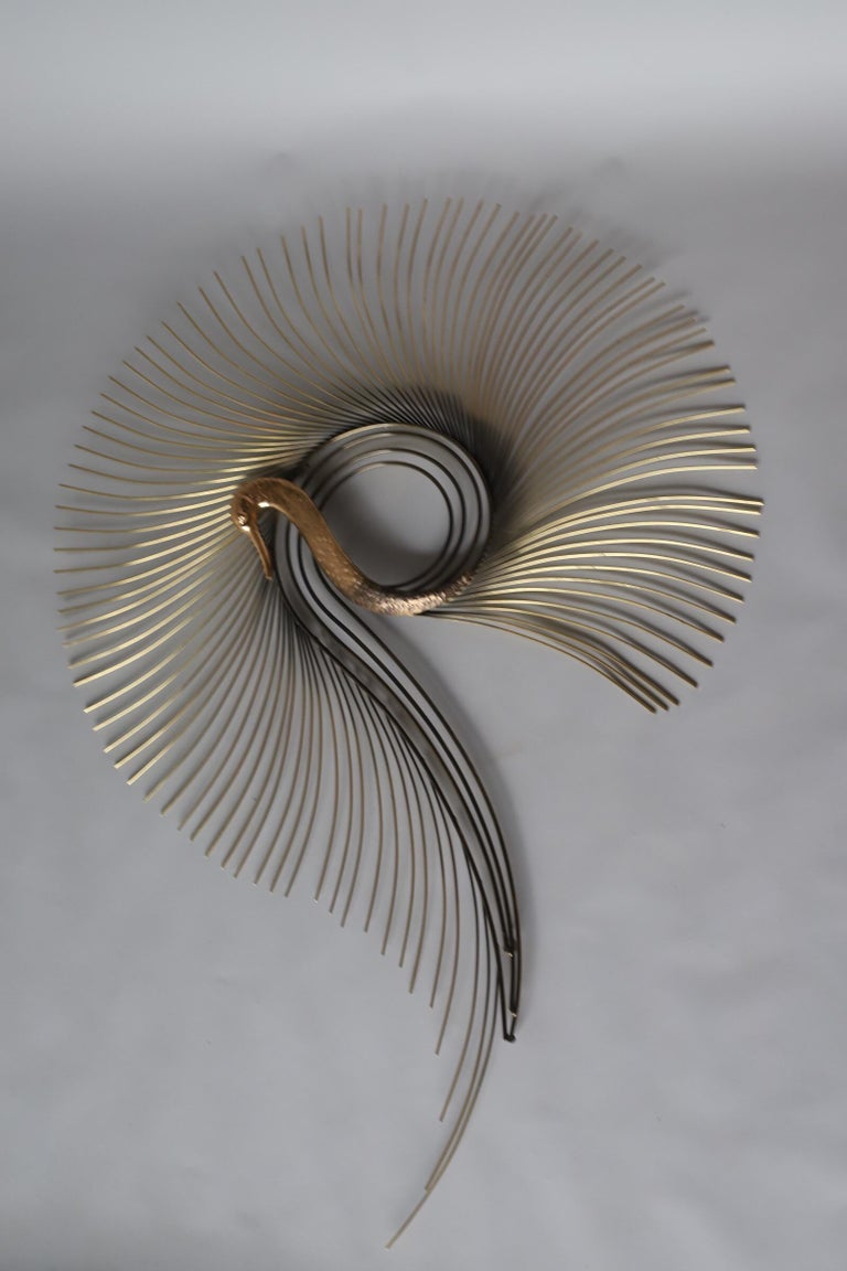 C. Jeré Brass Swan Wall Sculpture by Artisan House Inc. For Sale 2