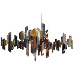 "C. Jere ""Cityscape"" Wall Sculpture in Mirrored Stainless Steel, Chrome and Brass"