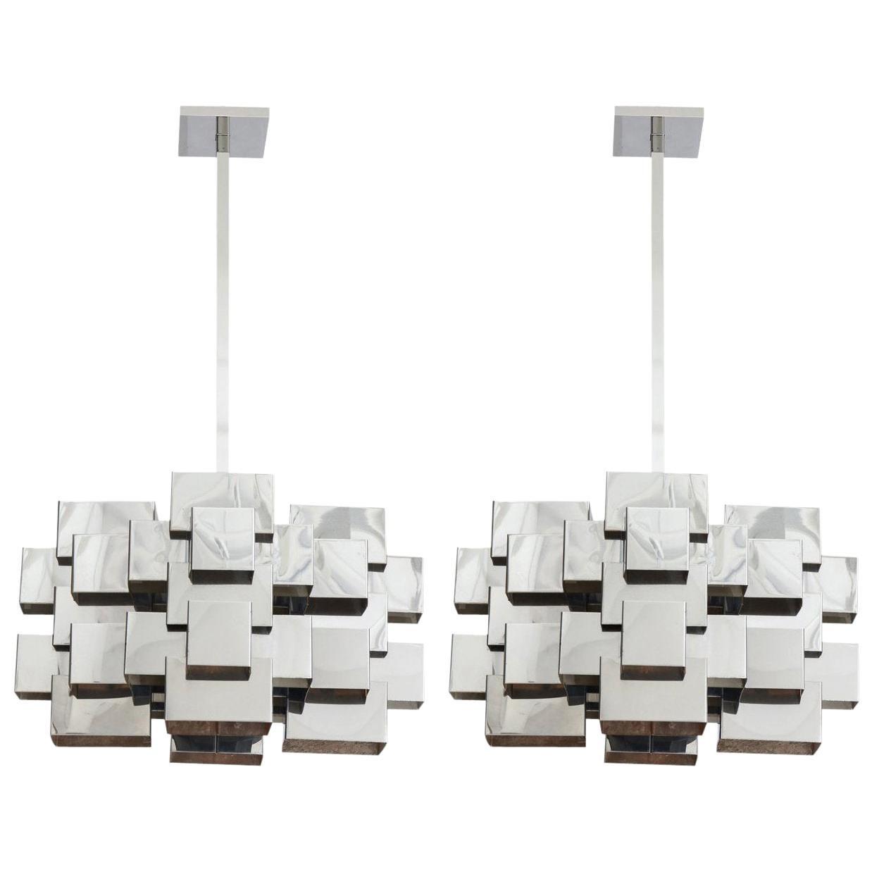 C. Jere Cubist Chandeliers, Chrome Steel