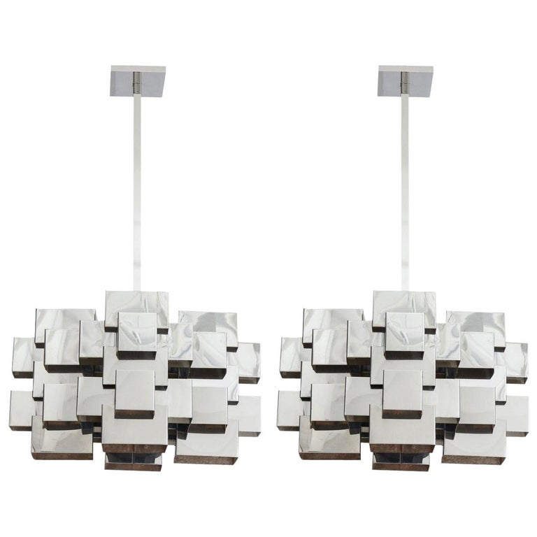 C. Jere Cubist Chandeliers, Chrome Steel For Sale