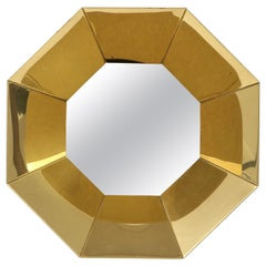 C. Jere Faceted Brass Mirror, Signed