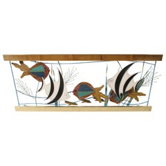 C. Jere Fish Aquarium Brass and Paint Wall Sculpture