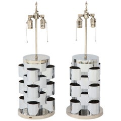 C. Jere Polished Chrome Lamps