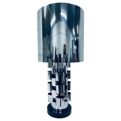 C. Jere Polished Chrome Table Lamp with Shade