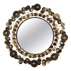 C. Jeré Raindrops Brass Sculptural Wall Mirror