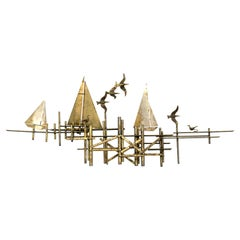 C. Jere Signed Ships and Birds Brass Wall Sculpture