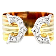 """""""C"""" Logo Diamond Ring in Three Colors, 18 Carat Yellow, White and Rose Gold"""