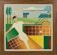 Tennis Sport Player Art Deco Cubist Gouache Painting by C. Massin