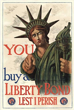 You buy a Liberty Bond Lest I Perish original World War 1 vintage poser