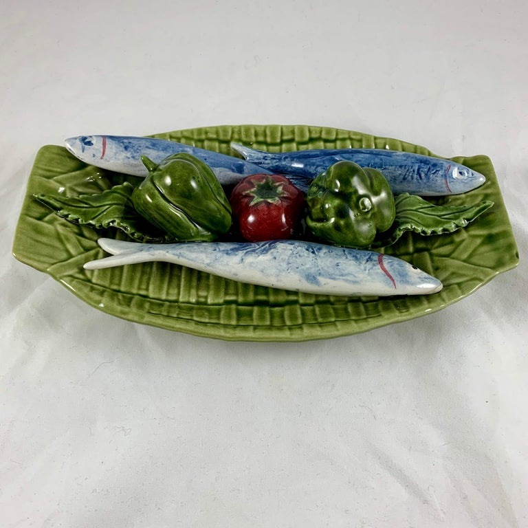 Mid-Century Modern C. Rainha Midcentury Trompe L'oeil Palissy Style Fish and Vegetable Wall Plaque For Sale