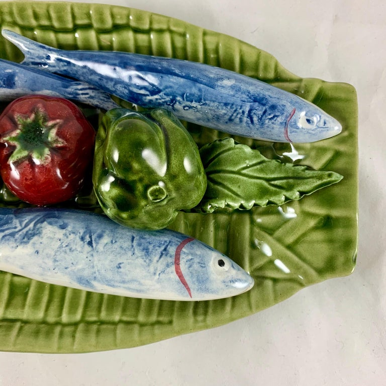 C. Rainha Midcentury Trompe L'oeil Palissy Style Fish and Vegetable Wall Plaque For Sale 1